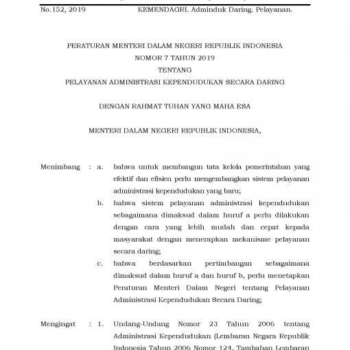 Peraturan Menteri Dalam Negeri Nomor 7 Tahun 2019 tentang Pelayanan Administrasi Kependudukan secara daring pelayanan online